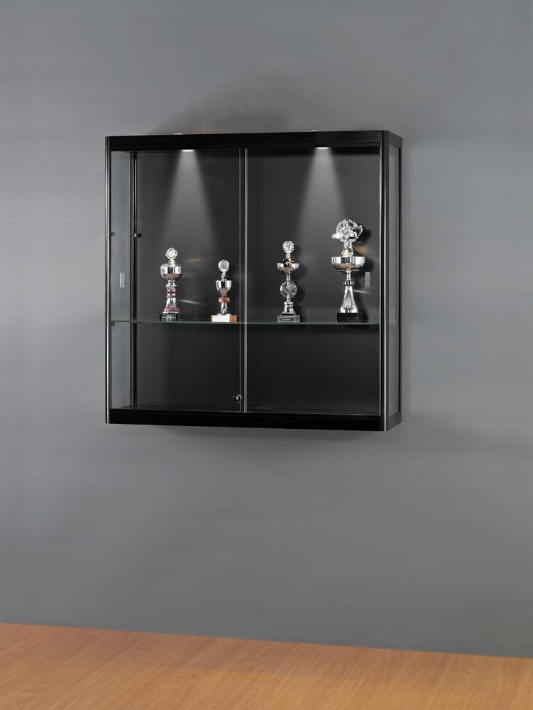 glas vitrine zur wandmontage mit 24mm schwarzem rundprofil. Black Bedroom Furniture Sets. Home Design Ideas