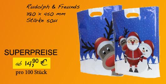 Kunststofftaschen mit Rudolph und Freunde Motiv