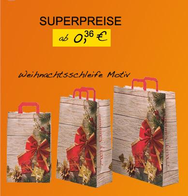 Papiertaschen mit Weihnachtsschleife Motiv
