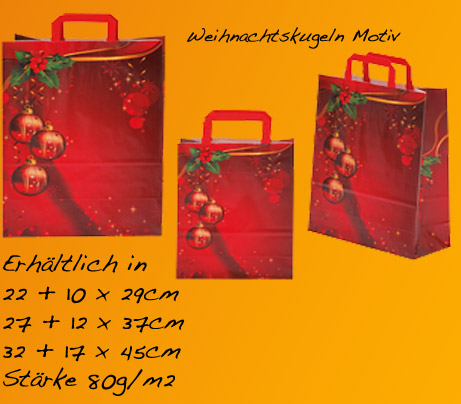 Papiertaschen mit Weihnachtskugel Motiv